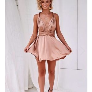 Xenia the perfect date tie up satin dress in mocha